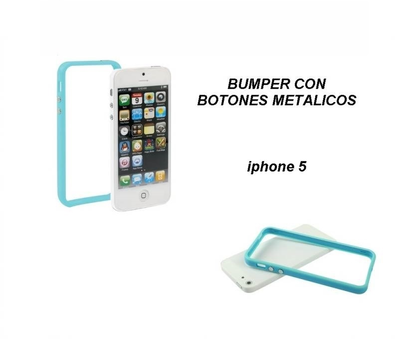 23654f186ab FUNDA CARCASA BUMPER PARA IPHONE 5 / 5S GEL TPU BOTONES METALICOS ...